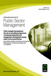 Public Manager Development by Professor John Raine