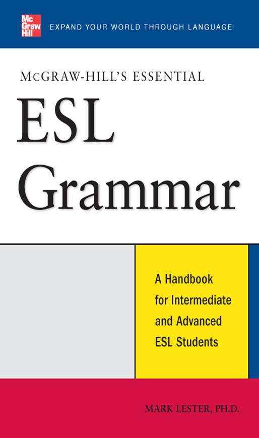 Download Ebook McGraw-Hill's Essential ESL Grammar by Mark Lester Pdf