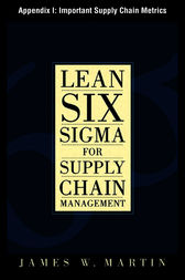 Lean Six Sigma for Supply Chain Management, Appendix I - Important Supply Chain Metrics by James William Martin