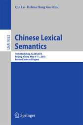 Chinese Lexical Semantics by Qin Lu